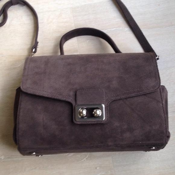 Dark grey suede leather crossbody bag. M 5a9dab91daa8f6b69310dd11 2689694f96aa9